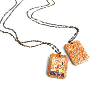 Tree of Life necklace with pendant in gold polymer clay