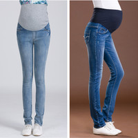 2015 Summer Skinny Maternity Denim Jean Femme Enceinte Women Korean Pregnant Jeans Embroidered Prop Belly Skinny Maternity Denim