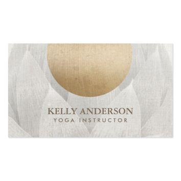 Yoga & Mediation Gold Circle Lotus Floral Linen Business Card