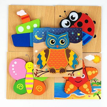 2017 New Arrival 3D Wooden Puzzle Jigsaw Wooden Toys For Children Cartoon Animal Puzzle Intelligence Kids Educational Toy Toys