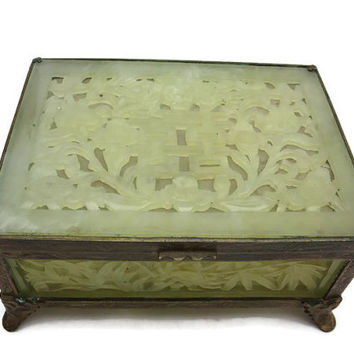 Chinese Jade Box - Double Happiness, Jewelry Casket with Feet, Antique