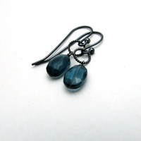 London blue topaz earrings, December birthstone jewelry, oxidized silver blue topaz jewelry, navy blue dangle earrings, blue drop earrings