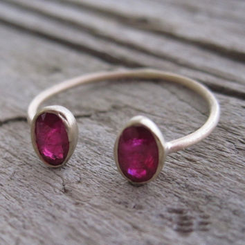 Burmese Oval Ruby Cuff Bezel Ring in 14K Gold by Studio1040