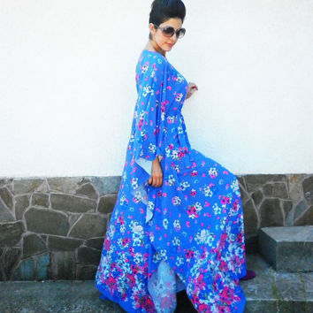 Long Purple Dress / Floral Dress / Abaya Dress/Plus size Caftan/ Maxi Dress/ Loose kaftan/ Casual dress / Elegant Dress by moShic D010
