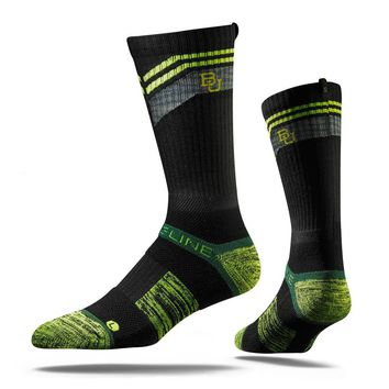 Strideline® 2.0 Camo Bear, Baylor Bears Black–Neon Green–Green Crew Socks