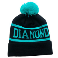 Diamond Supply Co Turquoise & Black Pom Beanie