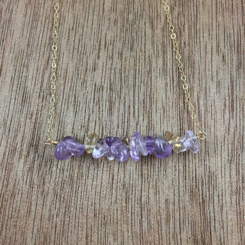 14k golf filled ametrine chip bead bar necklace / bridesmaid necklace / dainty necklace / minimalist necklace / birthstone necklace