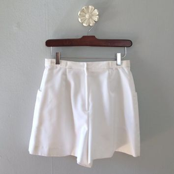 70s tennis skirt - vintage white skort zip up retro pocket shorts high waisted a line mini cotton athleisure athleticwear sportswear small