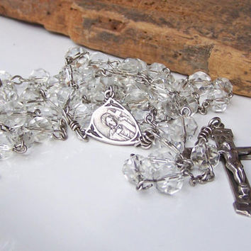 Etsy, Sterling Silver Faceted Crystal Bead Catholic Rosary, Vintage Sterling Rosary, Vintage Collectibles, Rosary, Gift