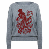 Womens Otto The Octopus Tri-Blend Raglan Pullover - American Apparel - S M and L (8 Color Options)