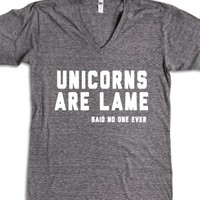 Unicorns Are Lame-Unisex Athletic Grey T-Shirt