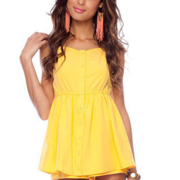 Sharon Button Down Dress in Yellow :: tobi