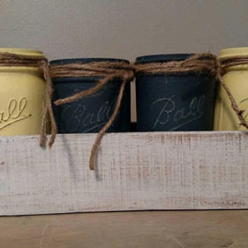 Farmhouse Yellow and Blue Coffee Table Centerpiece - Rustic Centerpiece - Estate Sale Reclaimed Mason Jars - Reclaimed Wood Planter Box