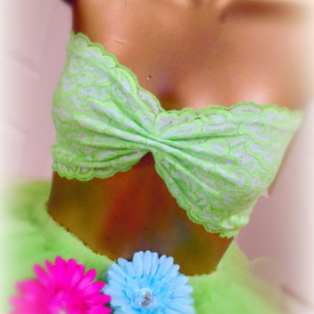 Rave raver edc clothes, Bandeau lace neon green, summer clothes tank top,lace lingerie bandeau, neon clothes, lace womens shirts