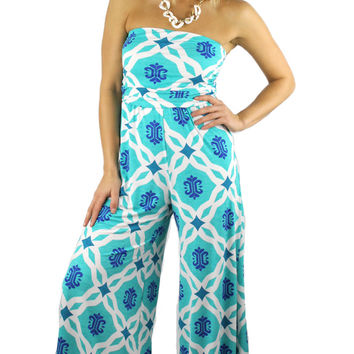 Strapless Nautical Print Long Romper - Turquoise/Multi