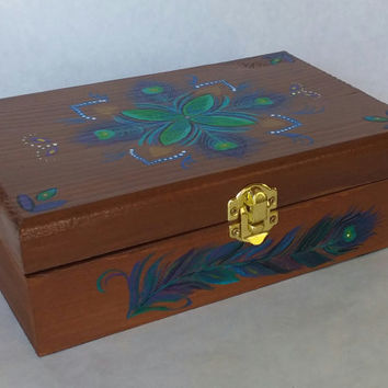 Free shipping, Mother's day gift, hand painted jewelery box, wooden jewelry box, painted keepsake box, wood keepsake box, peacock box