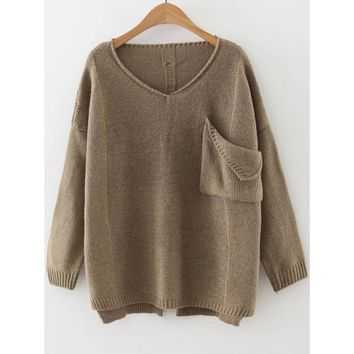 Ripped Dip Hem Sweater With Pocket