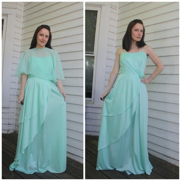 70s Maxi Dress Seafoam Sheer Cape Formal S