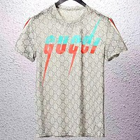 GUCCI 2019 new color matching lightning letter cotton round neck short-sleeved T-shirt grey