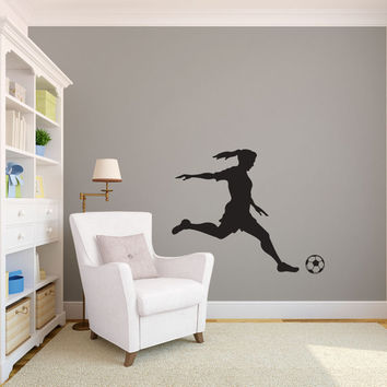 Girl Soccer Player Kicking Silhouette Sports - Wall Decal Custom Vinyl Art Stickers