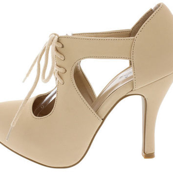 TRENCH233 NUDE CUT OUT LACE UP HEEL