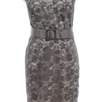 Adrianna Papell Grey Lace Overlay Belted Illusion Dress