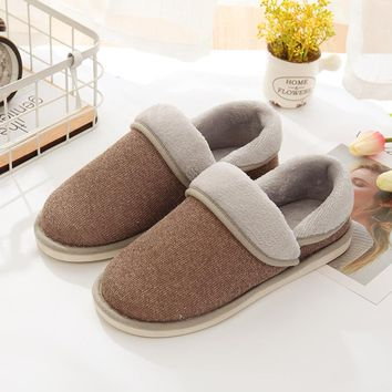 2017 winter shoes men cotton Men's slippers thick bottom couple home slippery warm home men and women slippers