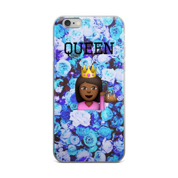 Black Queen Emoji Flowers Collage Teen Cute Girly Girls Blue Roses Floral iPhone 4 4s 5 5s 5C 6 6s 6 Plus 6s Plus 7 & 7 Plus Case
