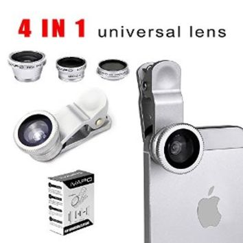 IVAPO Universal phone lens,4 in 1 Camera Lens Kit for Smart Phones (Iphone 4s 5s 5c,iphone 6 4.7 inch,iphone 6 plus 5.5 inch Samsung Galaxy S5 Note 2 Note3,note 4 Sony Z1 Z2 Z3), Samsung Tab , Ipad Air Mini 4 3 2, Laptops One Fish Eye Lens One 2 in 1 Macro