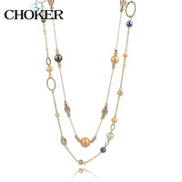 Long Natural Stone Beads Necklaces & Pendants for Women Statement Gold Ethnic Jewelry Maxi Vintage Accessories Collier Femme