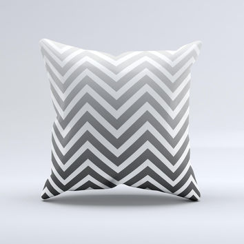 White & Gradient Sharp Chevron  Ink-Fuzed Decorative Throw Pillow