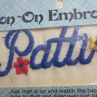 "Vintage Iron on Embroidery , Iron on Name , Iron on ""Patti"" , Name ""Patti"" in Blue Embroidery , Iron on Patch , Iron on Label , Patti Patch"