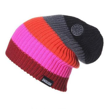 Hot Man Women Spring Autumn Winter Knit Beanies Ski Crochet Slouch Hat Cap Striped Color Bonnet Hats  Colorful Drop Shipping S54