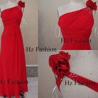 2014 red prom dress, floor length backless dress, one shoulder prom gowns