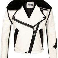Acne 'Rita' Leather And Shearling Jacket - Browns - farfetch.com