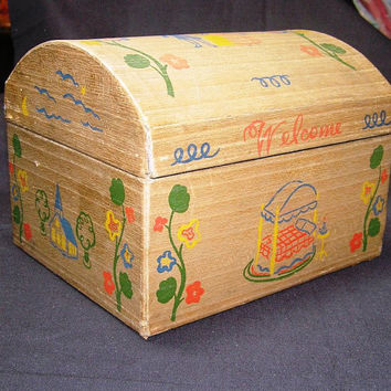 Vintage Miniature Folk Marriage or Wedding Box or Camel Top Doll Trunk with Painted Motif - Circa 1940s
