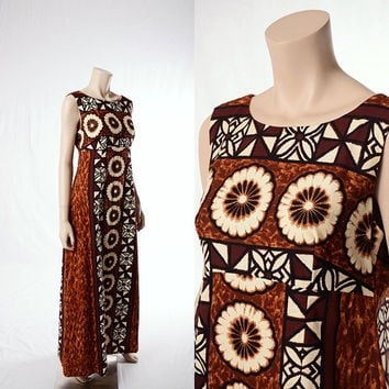 Vintage 60s Hawaiian Maxi Dress 1960s Mod Flower Graphic Empire Waist Hawaii Party Tiki Batik Boho Dress Hippie Luau Barkcloth Gown size S-M