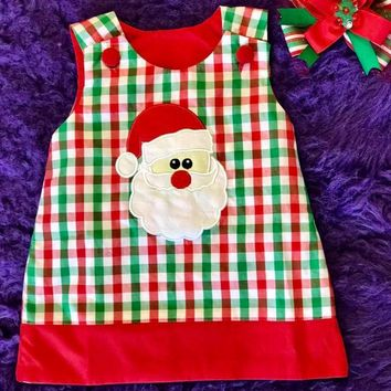 B & A 2017 Adorable Christmas Red/Green Gingham Santa Applique  Dress