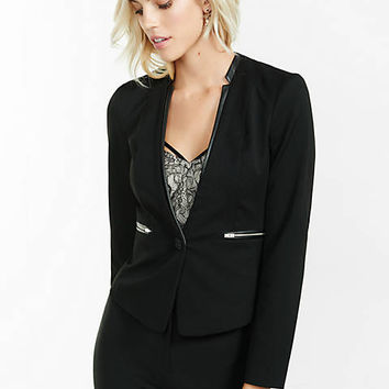 collarless jacket with (minus the) leather accents