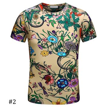 c1628325e13f GUCCI 2018 spring and summer tide brand Slim floral print POLO shirt men's  lapel T-