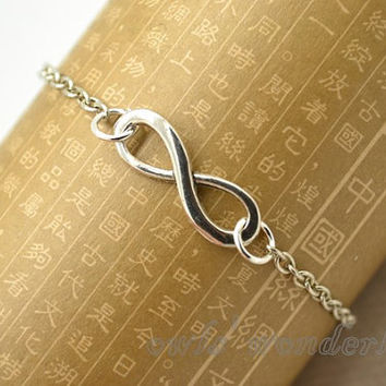 Infinity bracelet,infinity symbol bracelet science math sign mathematic charm bracelet with silver chain