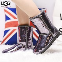 UGG New fashion sequin keep warm boost shoes women Silver&Gray