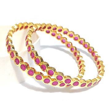 Continuous Circle ruby cz stone One gram gold polished bangle