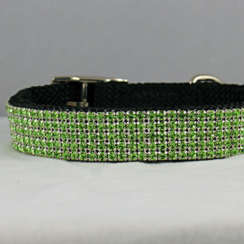 Five Row Light Green Rhinestone Dog Collar