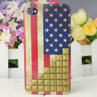 Bronze Stud Restore ancient ways the flag of the United States Hard Case Cover for Apple iPhone 4gs Case, iPhone 4s Case, iPhone 4 Hard Case