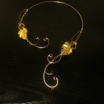 Medieval Renaissance circlet choker gold red necklace leaf with swarovski elements wedding Elven handfasting