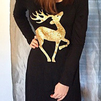 T-shirts Round-neck Long Sleeve One Piece Dress [9609316559]