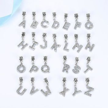 A-R Letter Of The Alphabet With Crystal Bead Charm Silver Plated Pendant Beads Fit Pan