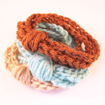 Fall Gifts For Men:  Crochet Chain Cuff Bracelets - Toast, Aruba Sea and Sand Set of 3