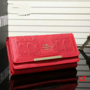 COACH Zipper Women Leather Purse Wallet Red I-LLBPFSH Tagre™